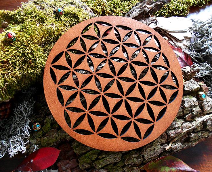 fleur de vie sur bois